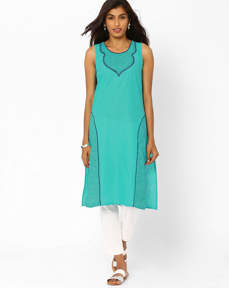 Sleeveless Cotton Kurta By AURELIA ( Turquoise )