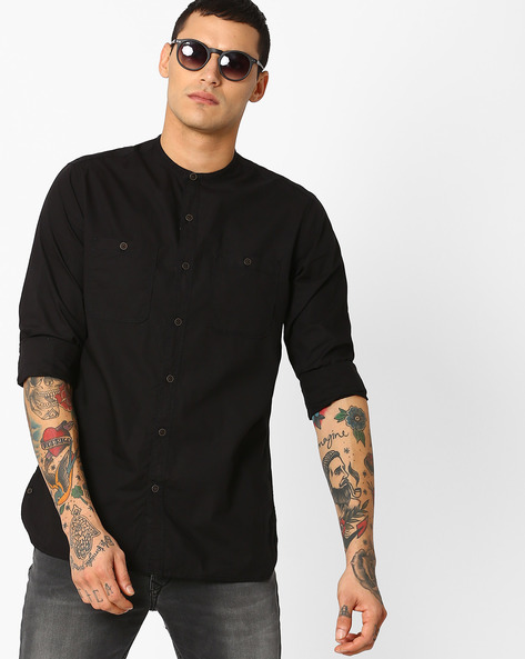 Classic Shirt With Mandarin Collar By AJIO ( Black )