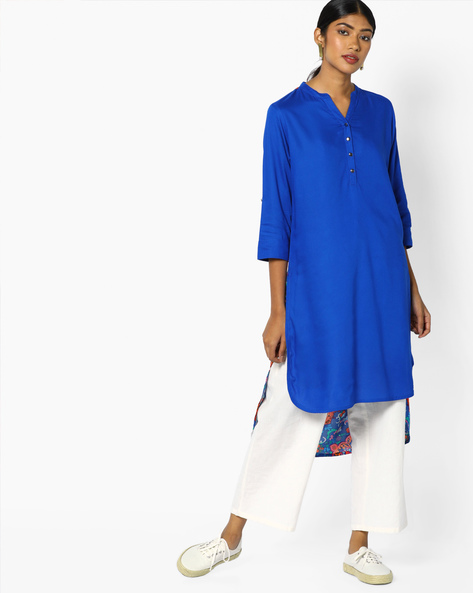 High-Low Kurta With Printed Panel By Melange By Lifestyle ( Blue )