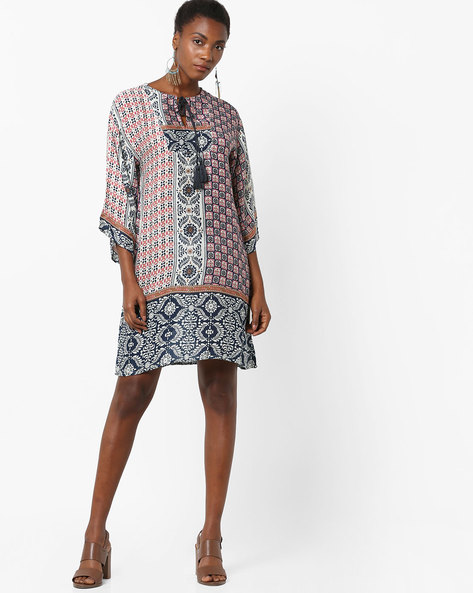Printed Shift Dress With Tie-Up Neckline By Rena Love ( Multi )