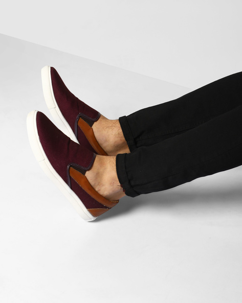 Slip-Ons With Elasticated Gussets By Knotty Derby ( Maroon )