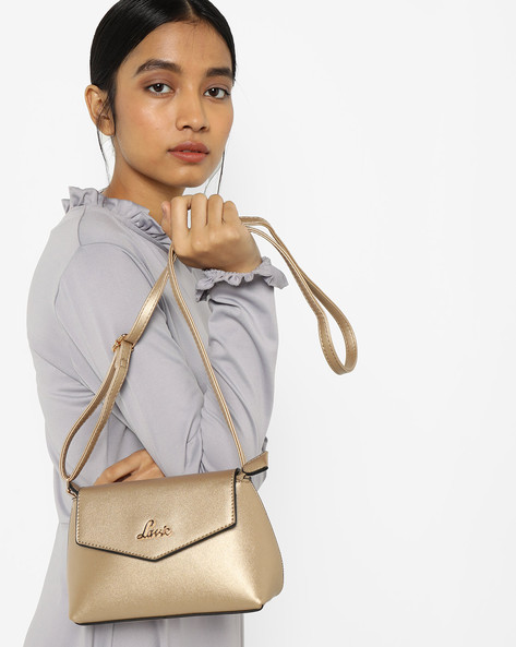 Sling Bag With Metallic Branding By Lavie ( Gold )