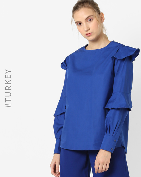 Full-Sleeve Ruffle Top By TRENDYOL ( Blue )