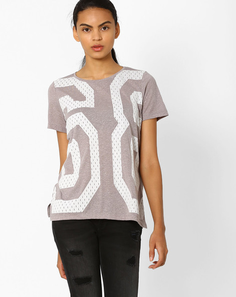 Printed Relaxed Fit T-shirt By Vero Moda ( Grey )