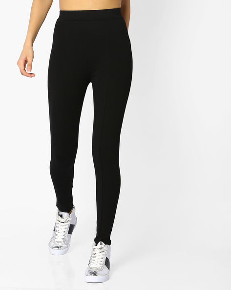 Panelled Trousers With Elasticated Waist By CODE By Lifestyle ( Black )