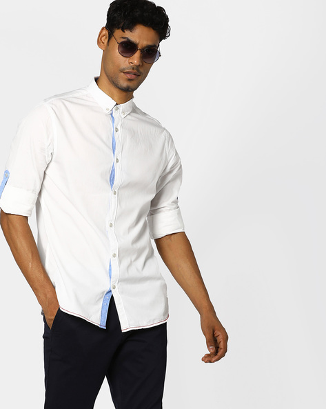 Button-Down Shirt With Roll-Up Tabs By AJIO ( Offwhite )