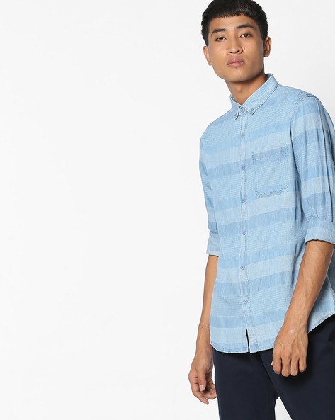 Slim Fit Striped Shit With Button-Down Collar By AJIO ( Lightblue )
