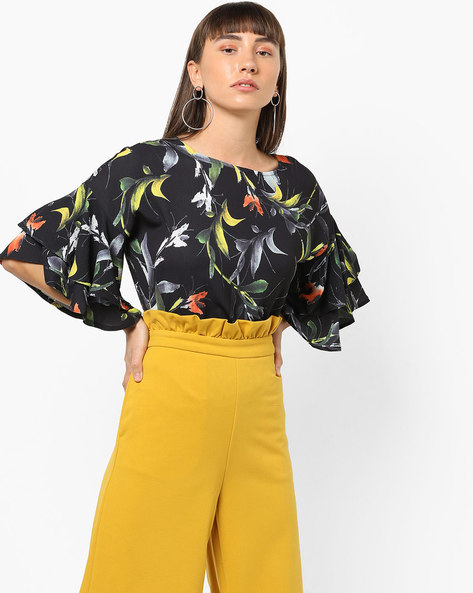 Floral Print Top With Tiered Sleeves By AJIO ( Black )