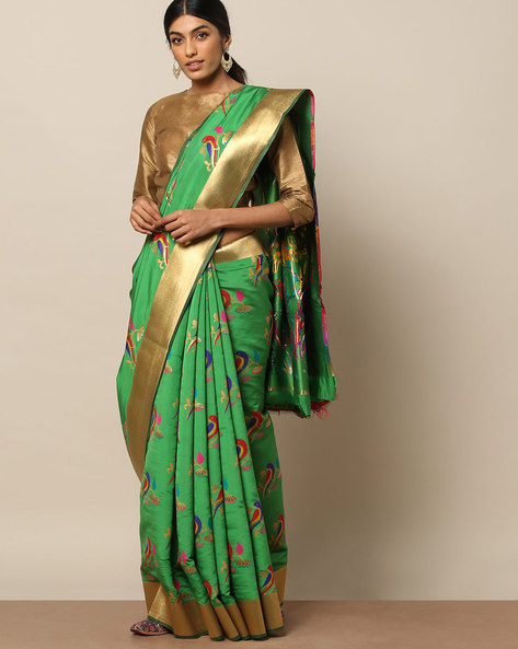 Banarasi Silk Bird Buta Saree With Zari Border By Pretty Woman ( Green )