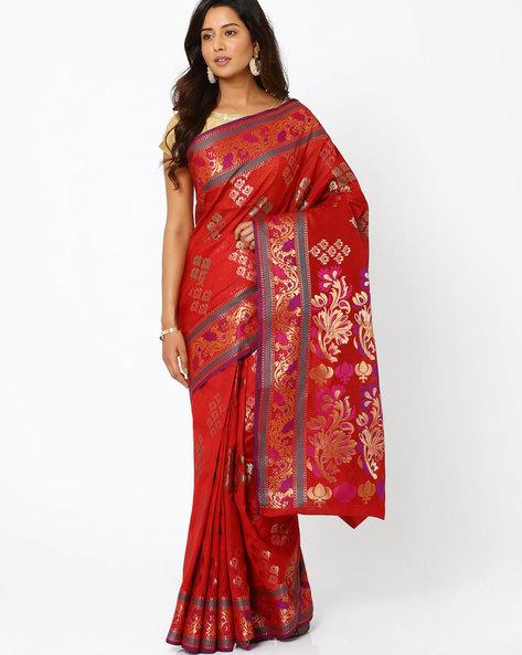 Banarasi Woven Zari Cotton Silk Saree By Indie Picks ( Rust )