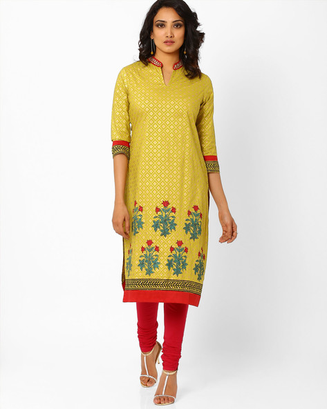 Printed Kurta With Mandarin Collar By AJIO ( Seagreen )