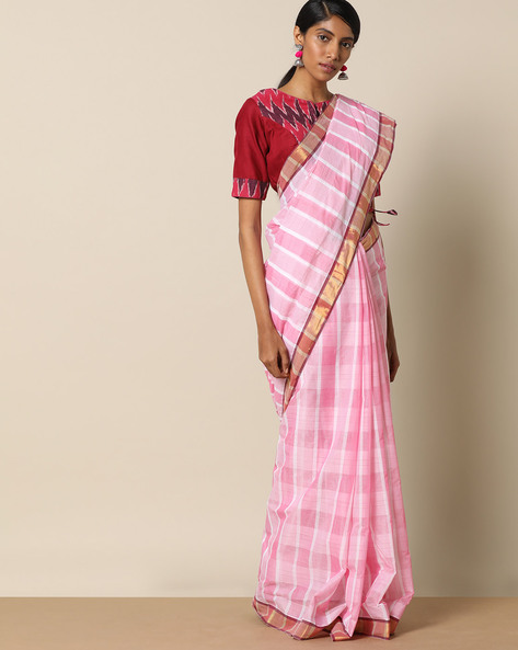 Kanchi Cotton Checked Saree With Zari Border By Indie Picks ( Purple )