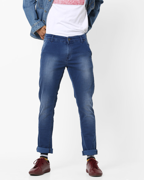Lightly Washed Slim Fit Jeans By SPYKAR ( Blue )