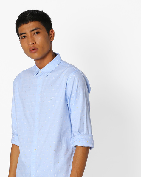 Floral Print Slim Fit Shirt By UNITED COLORS OF BENETTON ( Blue )