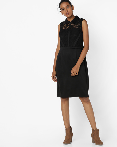 Sleeveless Shift Dress With Lace By Avirate ( Black )