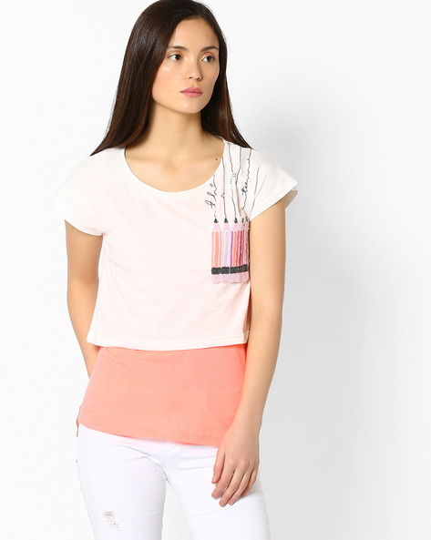 Twofer Top With Applique By RIO ( White )