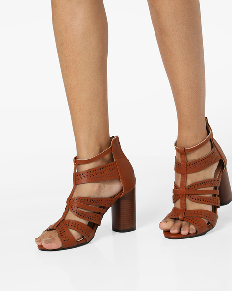 Strappy Heeled Sandals By MFT Couture ( Tan )