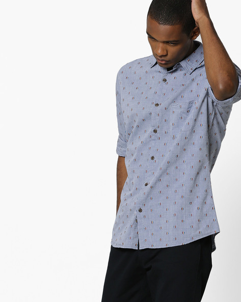 Dot Printed Cotton Shirt By UNITED COLORS OF BENETTON ( Blue )