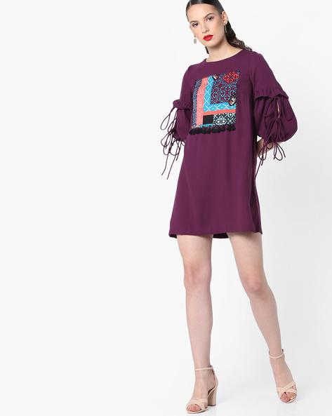 Shift Dress With Tie-Ups By AJIO ( Purple )