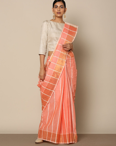 Textured Cotton Saree With Striped Pallu By Indie Picks ( Pink ) - 460118001001