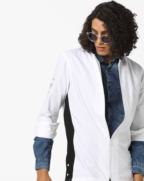 Panelled Shirt With Zip Placket By AJIO ( White )