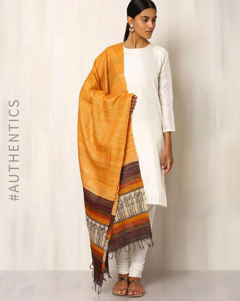 Handwoven Pure Kosa Silk Warli Print Dupatta By Indie Picks ( Peach ) - 460019538001