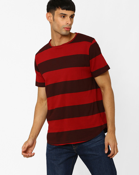 Striped Slim Fit T-shirt With Raw Edges By Blue Saint ( Multicolour )