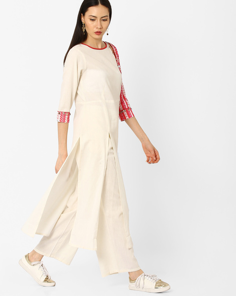 Straight Kurta With Button Detail By AJIO ( Offwhite )