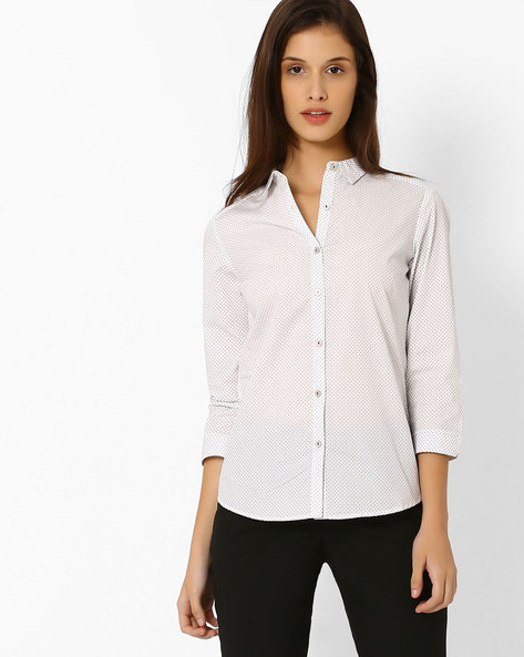 Printed Cotton Shirt By Annabelle By Pantaloons ( White )