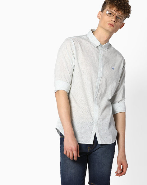 Printed Cotton Shirt By UNITED COLORS OF BENETTON ( Multi )