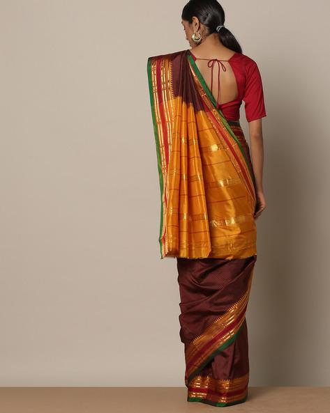 Handloom Pure Silk Narayanpet Checked Saree By Indie Picks ( Brown )