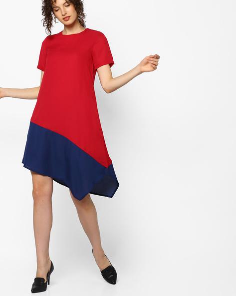 Colourblock Shift Dress With Asymmetrical Hemline By AJIO ( Red )