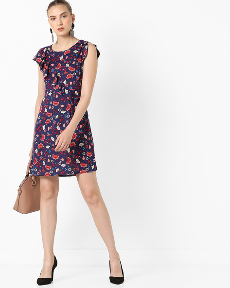 Floral Print A-line Dress With Ruffles By AJIO ( Navy )