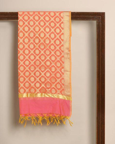 Banarasi Cotton Brocade Dupatta By Banarasi Style ( Orange ) - 460139652001