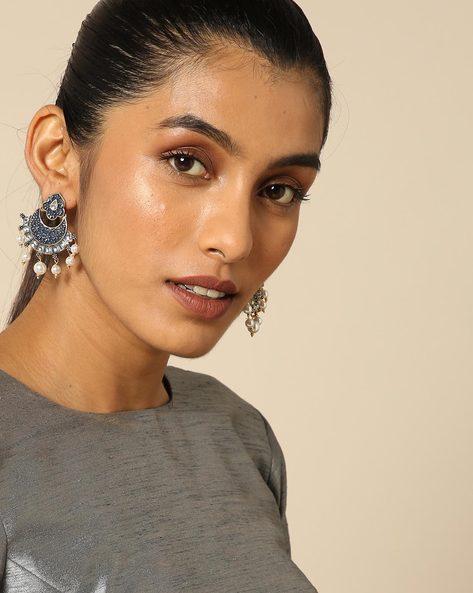 Enamel Pearl Stone Earrings By Spargz ( Blue ) - 460146228001