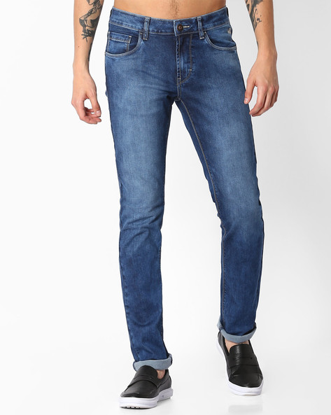 Mid-Rise Slim Fit Michael Jeans By FLYING MACHINE ( Blue )
