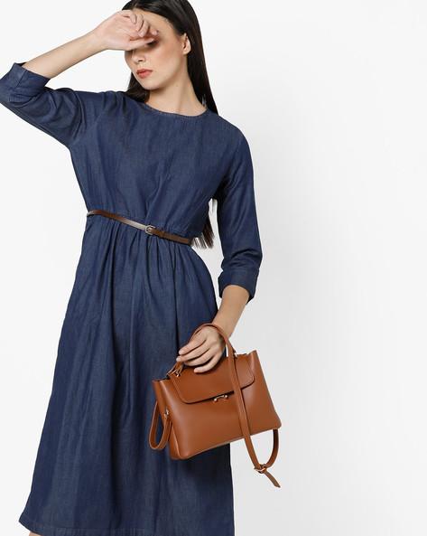 Pleated Midi Dress With Belt By Project Eve WW Denim ( Darkblue )