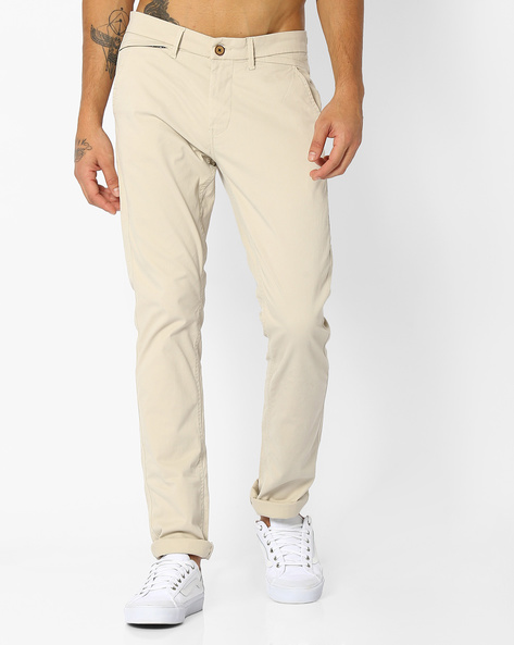 Tapered Fit Twill Chinos By NETPLAY ( Stone )
