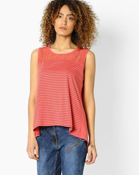 Striped Envelope Top With Lace Yoke By DNMX ( Redorange )