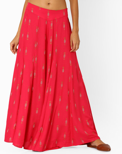 Printed Palazzo Pants With Elasticated Waistband By W ( Pink )