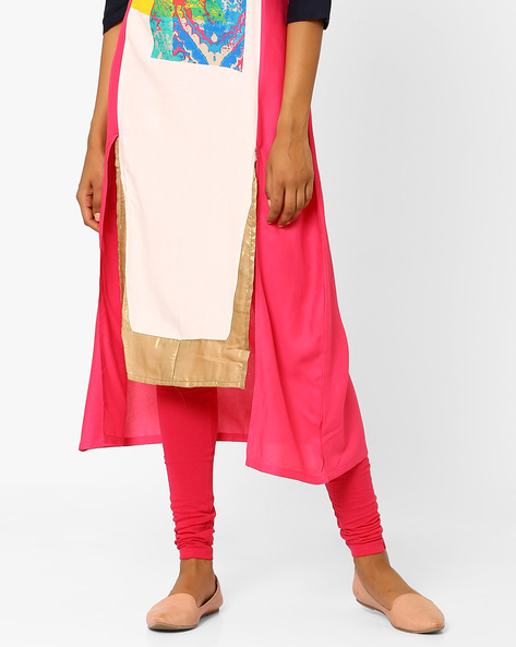 Cotton Churidar Leggings By W ( Pink )