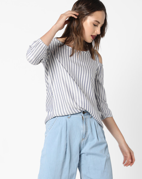 Striped Cold-Shoulder Top By Fame Forever By Lifestyle ( Blue )