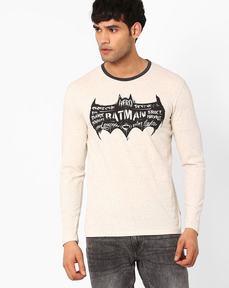 Batman Print Crew-Neck T-shirt By Free Authority ( Offwhite )