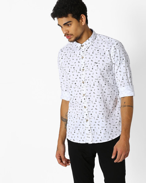 Printed Shirt With Curved Hem By FLYING MACHINE ( White )