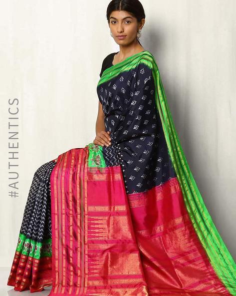 Handwoven Pure Silk Pochampally Ikat Saree By Indie Picks ( Fuchsia ) - 460017400001