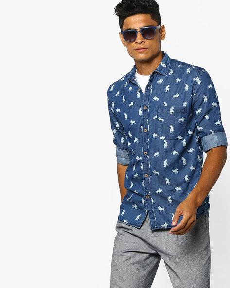 Polo Print Denim Shirt With Patch Pocket By British Club ( Blue )