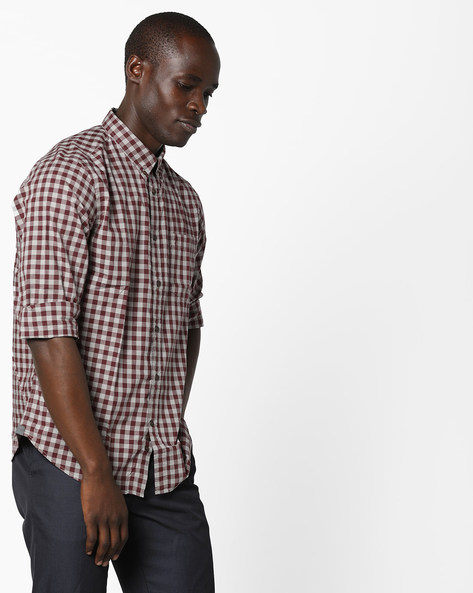 Checked Shirt With Button-Down Collar By INDIAN TERRAIN ( Grey )