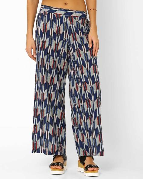 Chevron Print Palazzo Pants By AJIO ( Blue )