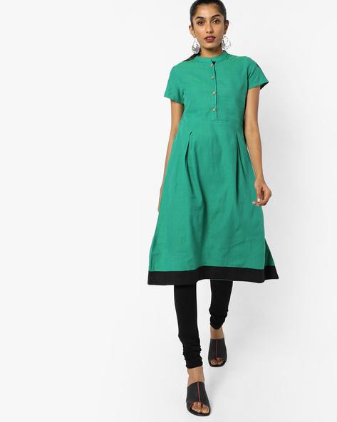 A-line Kurta With Mandarin Collar By AJIO ( Green )