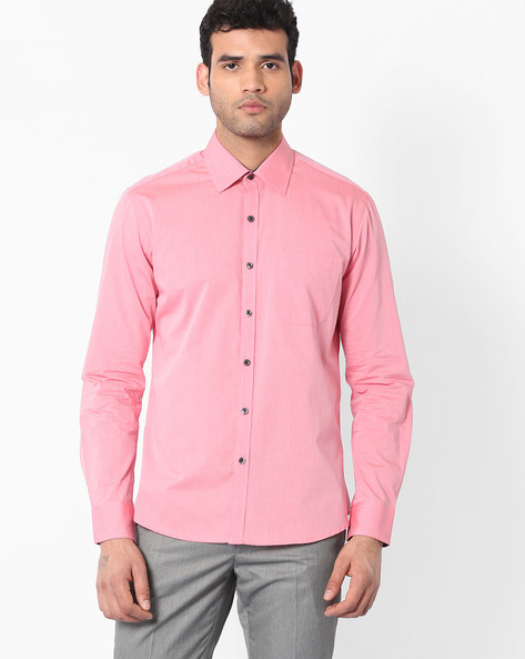 Regular Fit Shirt With Patch Pocket By NETWORK ( Pink )